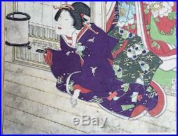 1800s Woodblock By Toyohara Kunichika 3 Panels Japanese Print Red Toshidama