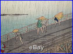 1891 MEIJI Antique HIROSHIGE JAPANESE WOODBLOCK PRINT Sudden Shower ShinOhashi