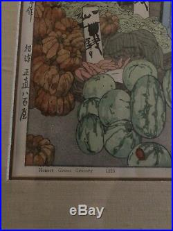 1926 Hiroshi Yoshida Japanese Woodblock Posthumous Print Honest Grocer Stamped