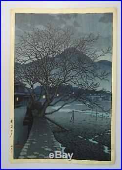 1929 Kawase Hasui Original Japanese Woodblock Print Evening at Beppu