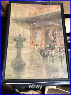 1930s Yokouchi Ginnosuke Water Color Painting Not woodblock Temple In Rain