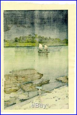 1932 Kawase Hasui Early Summer Rain Original Japanese Woodblock Posthumous Ed