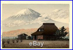 1936 Kawase Hasui Mt. Fuji 7 mm Seal Original Japanese Woodblock Print PRISTINE