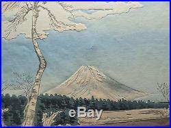 1940 Orig TOKURIKI TOMIKICHIRO Japanese Woodblock Print -Fuji from Fujimi Hights