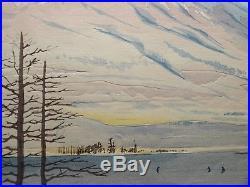 1940 Orig TOKURIKI TOMIKICHIRO Japanese Woodblock Print -Fuji from Lake Yamanaka