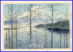 1940 Orig TOKURIKI TOMIKICHIRO Japanese Woodblock Print Fuji in Early Spring