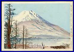 1940 TOKURIKI TOMIKICHIRO Japanese Woodblock Prints Fuji from Lake Yamanaka