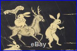 1950 Tokuriki Tomikichiro Japanese Woodblock Print Fantastical Rabbits & Deer