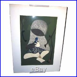 1950s Vintage Kaoru Kawano Conversation Signed Japanese Woodblock Print