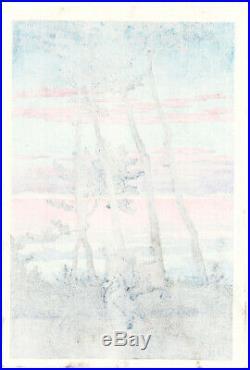1954 Kawase Hasui Dusk Nakoso Watanabe 7 mm Original Japanese Woodblock Print