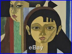 1956 Mid-Century Modern Japanese Woodblock Print 4 Children Sekino Junichiro
