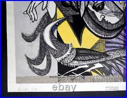 1956 RARE Junichiro Sekino Japanese Woodblock Print Abstract Signed 16/100