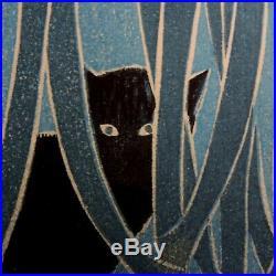 1958 Shiro Kasamatsu Woodblock Cat in Leeks Flower Numbered 2/100 Japanese MCM