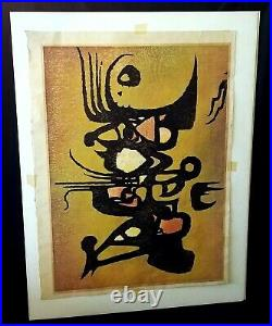 1960 Japanese Large Abstract Woodblock Print 14/15 Wild by Toshi Yoshida (WiR)