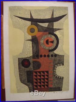 1964 Fumio Fujita Japanese Woodblock Print Abstract