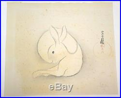 1967 Japanese Woodblock Print No. 37 White Rabbit Mikumo Ishihara (1902-63)(Fur)