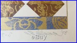 1978 Yoshio Sekine Abacus Japanese Woodblock Print Shin Hanga Pencil Signed