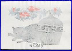 1986 Orig NISHIDA TADASHIGE Japanese HAND SIGNED Woodblock Print Drowsily CAT
