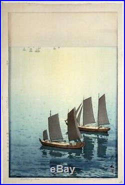 1st Edition Jizure Seal Japanese Woodblock Print Hiroshi Yoshida Glittering Sea