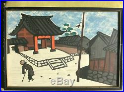 2 Vintage 40's 50's Japanese artist KIYOSHI SAITO Winter Scenes Woodblock PRINTS