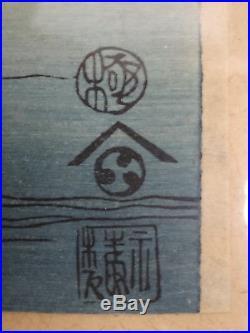 3x original japanischer Farbholzschnitt, Japanese wood block print Hiroshige