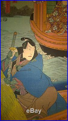 5 Kunisada Original Japanese Woodblock Prints Circa 1850s Signed Toyokuni III