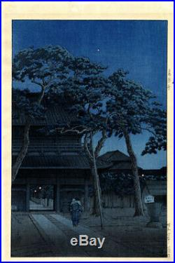 6 mm Watanabe 1931 Kawase Hasui Sengaku Temple Original Japanese Woodblock Print
