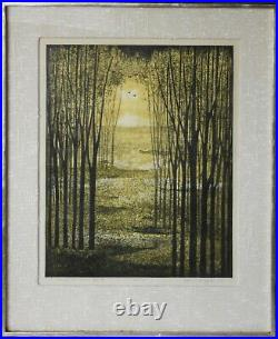 AKEMI INAGAKI-Japanese Modernist-Hand Signed LIM. ED Woodblock-Forest Clearing