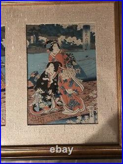 ANTIQUE JAPANESE WOODBLOCK PRINT Triptych Traveling by Water -Gorgeous