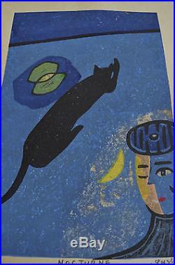 ARTIST PROOF LARGE JAPANESE WOODBLOCK PRINT NOCTURNE By GASHU FUKAMI