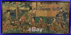 Antique 19th c. JAPANESE WOODBLOCK Triptych Print