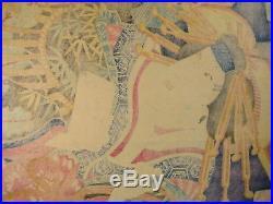 Antique C. 1865 Japanese Ukiyoe Woodblock Print Bijinga Geisha Kabuki Utagawa