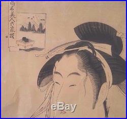 Antique Early 19th c. Japanese Woodblock Print by Kitagawa Utamaro