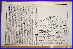 Antique Edo Era JAPANESE TWO SIDED WOOD CARVED HANGI / Mountain Village Scenery