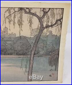 Antique Fine Japanese Woodblock Hiroshi Yoshida Signed Pencil Ikenohata