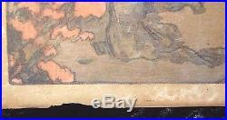 Antique Hiroshi Yoshida Signed Japanese Woodblock Print Teahouse Azalea Garden