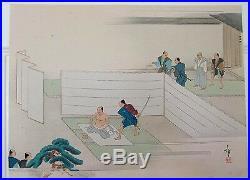 Antique Japan woodblock print-Seppoku/Mass Suicide 47 Ronin Samurai ETSUDO