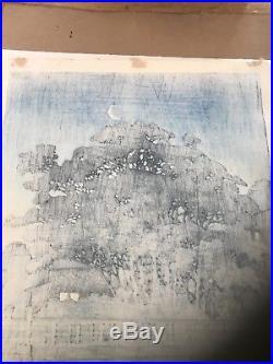 Antique Japanese Hasui woodblock print. Taki River At Night 1929