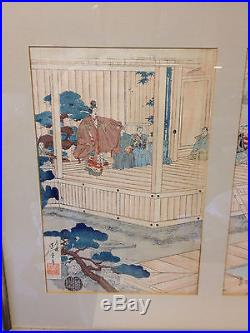 Antique Japanese Meiji Watanabe Nobukazu Triptych Woodblock Print Noh Play