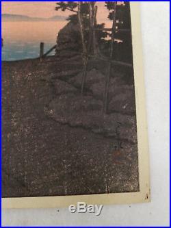 Antique Japanese Woodblock Print Kawase Hasui Dusk at Aso Seals