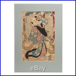 Antique Japanese Woodblock Print Kunisada Utagawa 19th C