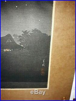 Antique Japanese Woodblock Print Night Scene