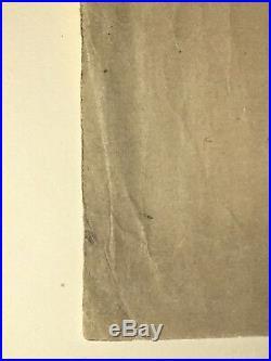 Antique Japanese Woodblock Print Signed Utamaro of Falcon on Branch