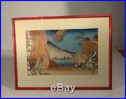 Antique Japanese Woodblock Print Woodcut Signed Hiroshige Style Framed Warriors