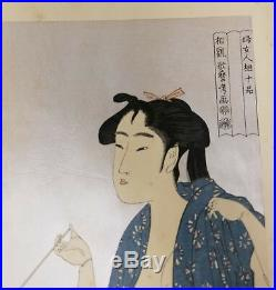 Antique Japanese Woodblock Utamaro Kitagawa Lady Geisha Smoking Signed Print