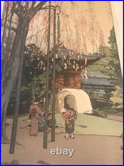 Antique Japanese artist YOSHIDA HIROSHI Woodblock PRINT Cherry Tree in Kawagoe