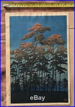 Antique Kawase Hasui Hikawa Park, Omiya Rare 1st Edition woodblock print