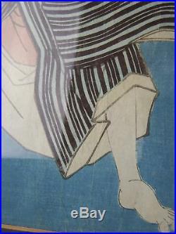 Antique Original Utagawa Kunisada Japanese Woodblock Print Kabuki Actor Framed