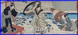 Antique Utagawa Kunisada I Tokouni III Japanese Woodblock Print Triptych Geishas