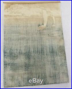 Antique Vintage Japanese Woodblock Print Hiroshige Hokusai Fishing Boats Trimmed